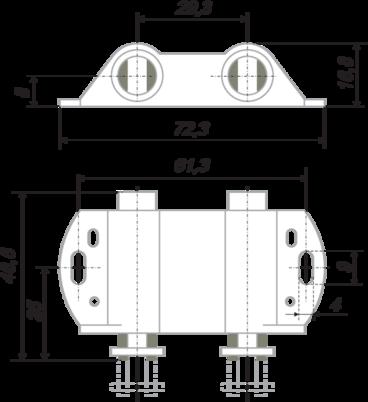 Магнитный держатель для 2х стеклянных фасадов белый MH02/W 2