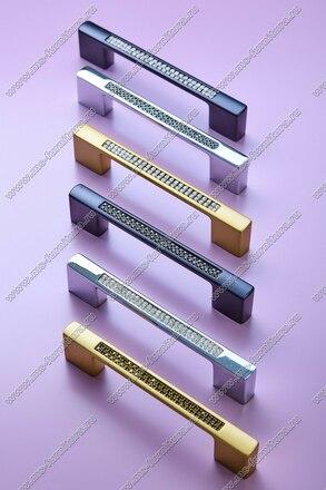 Ручка-скоба с черными стразами 96/128 мм хром 5379-06-06/011 5