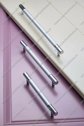Ручка-рейлинг 96 мм алюминий + хром AL96 11