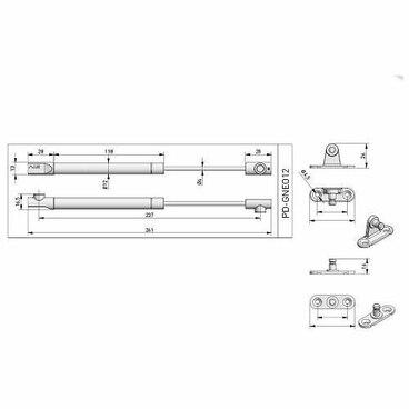 Подъемник газовый NEO 6 кг для фасадов, диаметр 12 мм, антрацит GTV 3