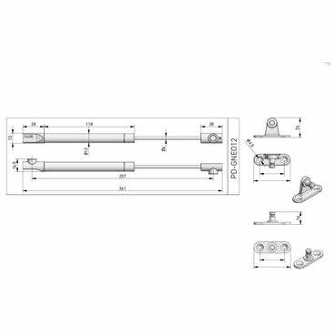 Подъемник газовый NEO 8 кг для фасадов, диаметр 12 мм, белый GTV 2
