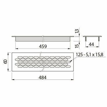 Вентиляционная решетка 60х484 Алюминий GTV KK-W60800-M0 2