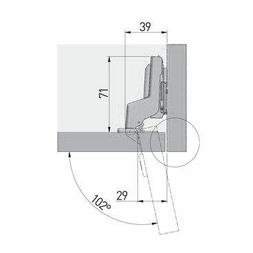 ZM-DCHC07-3DBEO Петля с доводчиком вкладная clip on 3D GTV (100) 3