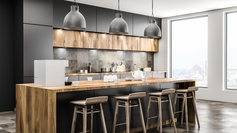 Светильники в стиле хай-тек на кухне